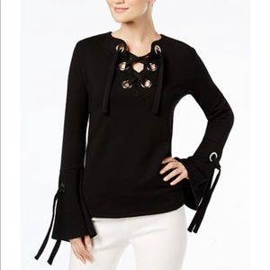 INC Lace Up Bell Sleeve Grommet Sweatshirt